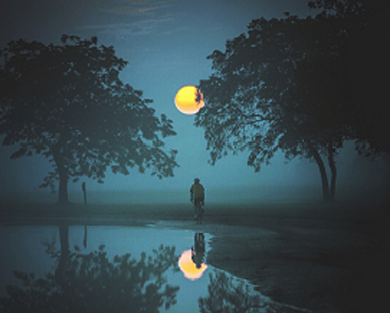 decorative image: Full Moon between two trees and person standing below are all reflected in a pond